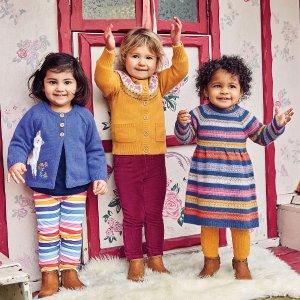JoJo Maman BebeGirls' Indigo Fair Isle Stripe Dress