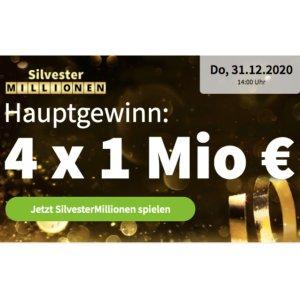 新用户仅需€1Silvester Millionen 4个100万欧元大奖 中头奖几率高