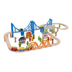 Spark. Create. Imagine.儿童木质火车轨道套装含75件