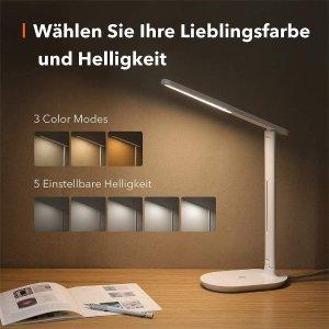 6折 €17.99(原价€29.99)TaoTronics 护眼台灯热促 3种光色5种亮度可调 外形颜值满分