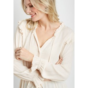 mauricesGold Metallic Button Down Front Ruffle Trim Peasant Top