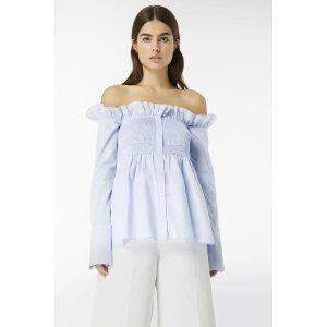 Victoria BeckhamSmocked Off-Shoulder Shirt in Oxford-Blue