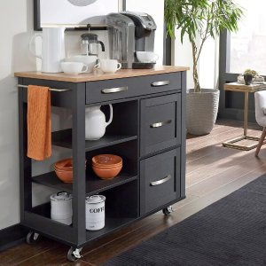 Home Style Storage Plus Black Kitchen Cart