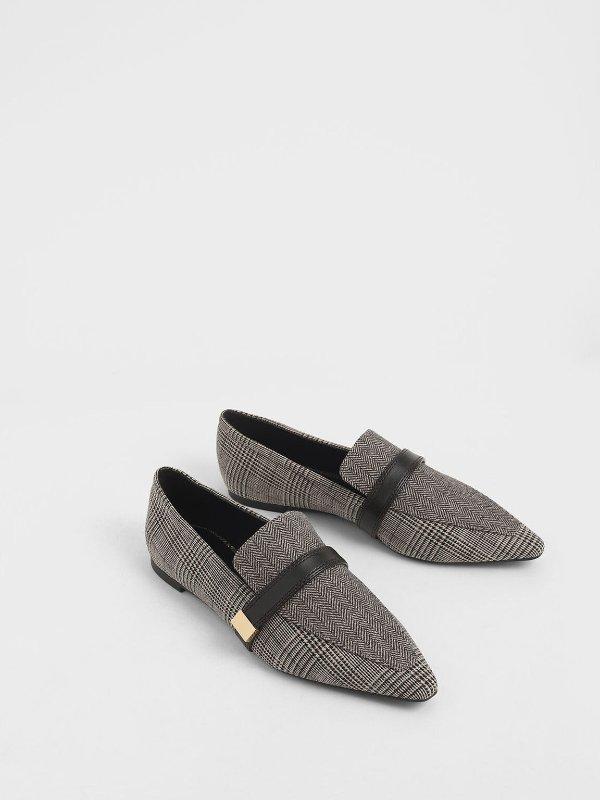 针织格纹乐福鞋