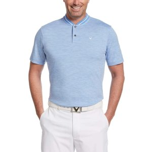 Mens Broken Stripe Polo with Baseball Collar