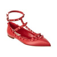 Valentino 红色铆钉芭蕾平底鞋