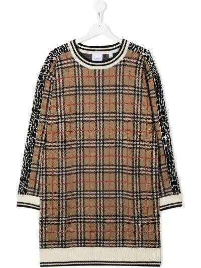格纹毛衣裙