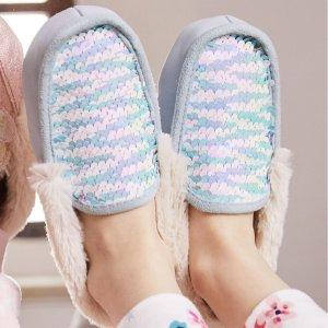 Joules儿童美人鱼闪片居家鞋