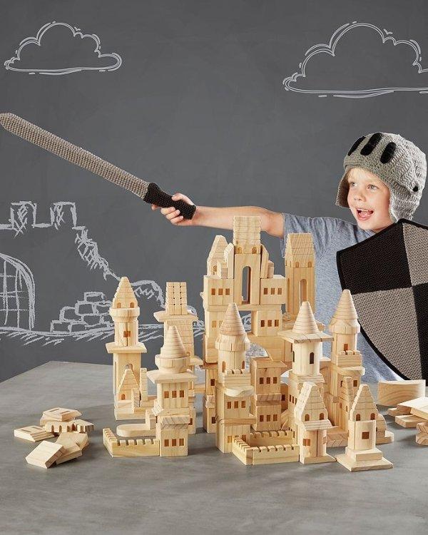 木质城堡积木,150块