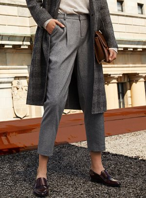 Fine wool straight cropped pant   Contemporaine
