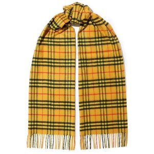 BurberryFringed checked brushed-cashmere scarf