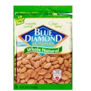 $5.99 多口味可选Blue Diamond Almonds 天然原味杏仁 6 OZ