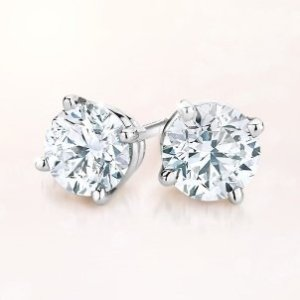 $127.49 (原价$149.99)Vir Jewels 1/3克拉 14K白金耳钉