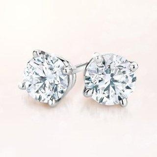 $135.99 美西00:50 AM开始闪购:VIR JEWELS 14K白金1/3 cttw 天然钻石经典耳钉