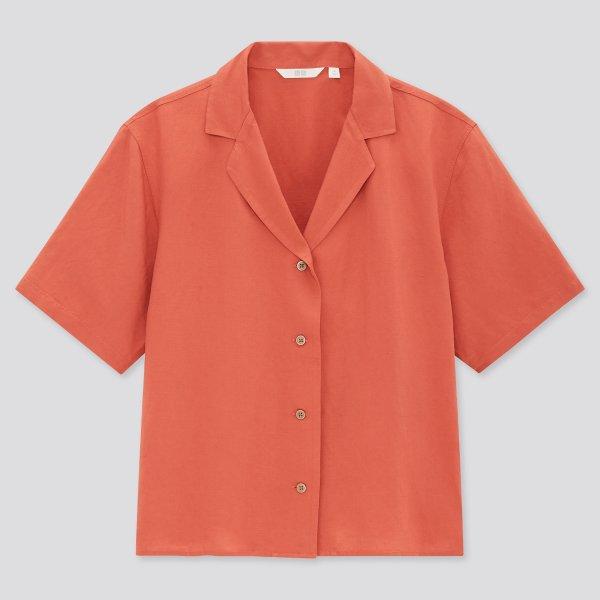 亚麻短袖衬衫