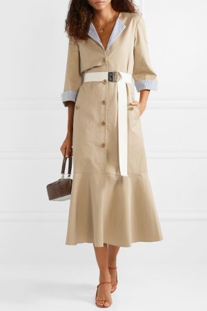 Tibi | Finn belted striped canvas-trimmed cotton-twill midi dress  | NET-A-PORTER.COM