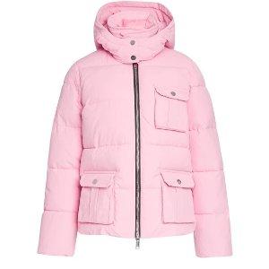 Ganni5折!粉色连帽棉服