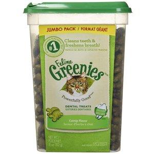 $6.29 原价$10.99)史低价:Greenies 猫咪洁牙小零食 11盎司