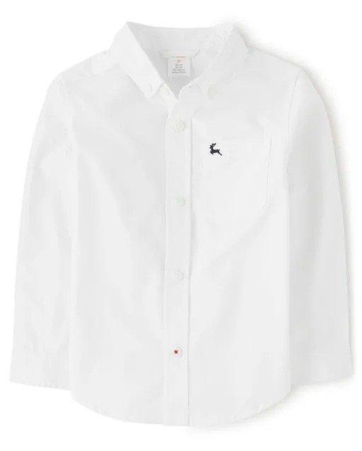 男童长袖白衬衣