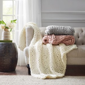 Handmade Chunky Double Knit Throw By Madison Park - Designer Living