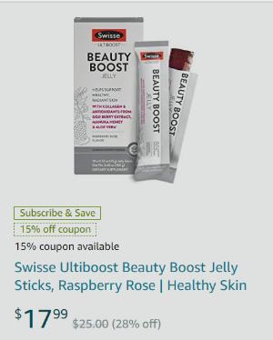 Swisse Ultiboost Beauty Boost Jelly Sticks, Raspberry Rose
