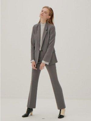 Frontrow 灰色剪裁直筒裤