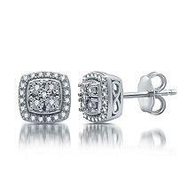 T.W. Genuine Diamond Stud Earrings in Sterling Silver
