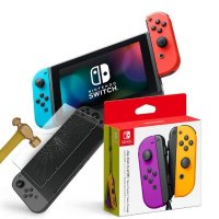 预售:Switch 主机 + 保护膜 + 橙紫 JoyCon 套装