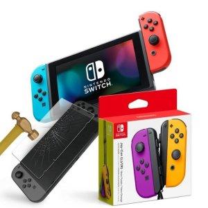 $394.99 欲购从速预售:Switch 主机 + 保护膜 + 橙紫 JoyCon 套装