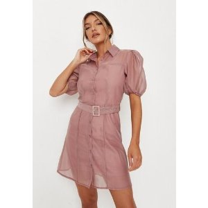 MissguidedExtra 15% Off $80+ Purchase- Pink Organza Puff Sleeve Belted Shirt Dress