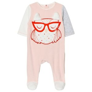 39f7c0f5 Little MarcJacobs Pink Owl Applique Velour Babygrow with Faux Fur Ears |  AlexandAlexa