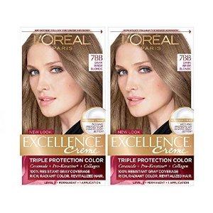 L'Oréal L'Oreal Paris Excellence Creme Permanent Hair Color, 7BB Dark Beige Blonde, 2 COUNT 100% Gray Coverage Hair Dye