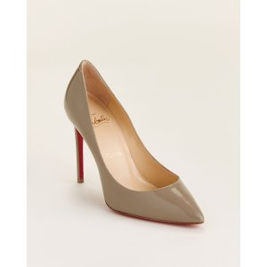 Christian LouboutinTaupe Pigalle Pointed Toe Patent Pumps