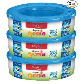 $9.28 (原价$20.19)史低价:Playtex Diaper Genie 尿布垃圾桶专用替换芯270个/盒 共3盒