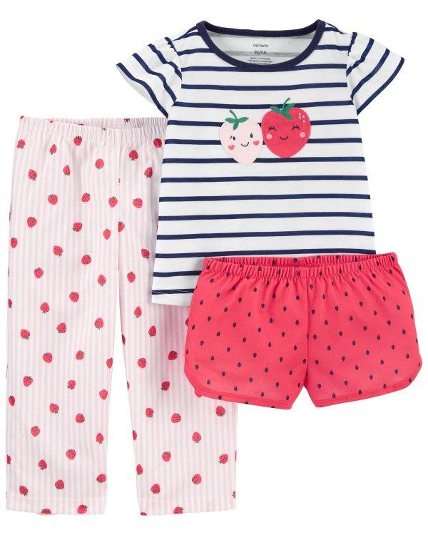 小童草莓宽松版睡衣3件套