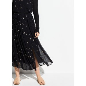 VinceMetallic Embroidery Skirt