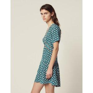 SandroShort Printed Silk Dress