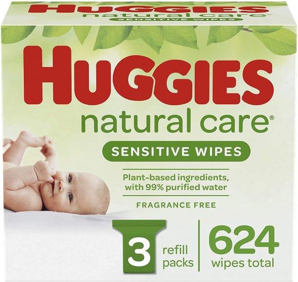HUGGIES 无香型宝宝湿巾,3袋补充装共624抽