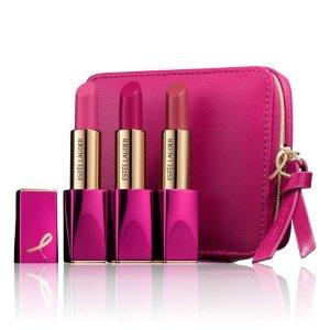 满赠最高17件礼品 含小棕瓶护肤4件套Estée Lauder 限量款口红三支装 满足粉粉少女心
