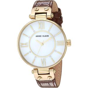 Anne Klein Swarovski Crystal and Leather Strap Watch