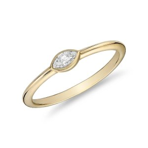 Blue NileMini Marquise-Cut Diamond Fashion Ring in 14k Yellow Gold (1/10 ct. tw.) | Blue Nile
