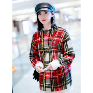 $647(原价$995)收景甜同款R13红色格纹帽衫