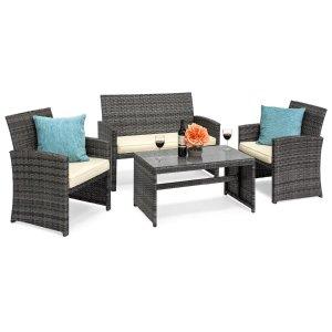 Best Choice Products 柳条庭院桌椅4件套