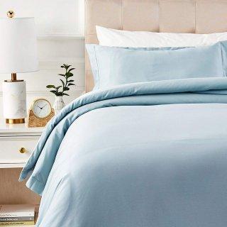$25.92 (原价$38.99)AmazonBasics 全棉400支被罩床品套装,雾霾蓝