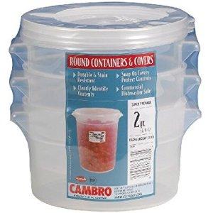 $10.99(原价$21.6)Cambro 2夸脱 食物储藏盒 三个装