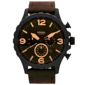 $119(原价$279)Fossil  JR1487棕色皮带男表 50mm