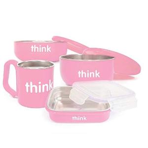 $44.97(原价$56.87)Thinkbaby 双层不锈钢儿童餐具4件套粉色