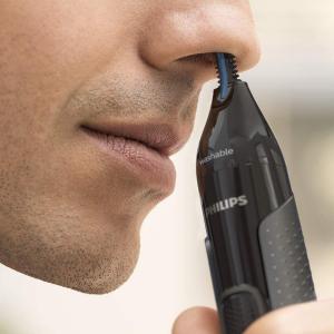 折后€14.99 眉毛、耳朵也能用Philips 3000 鼻毛修剪器 双面切割不拉扯 可水洗 带丰富配件