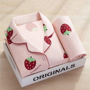 粉色小草莓睡衣套装