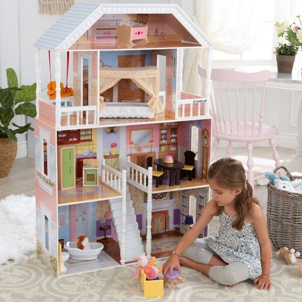 豪华大型4层娃娃屋,带14件家具配件